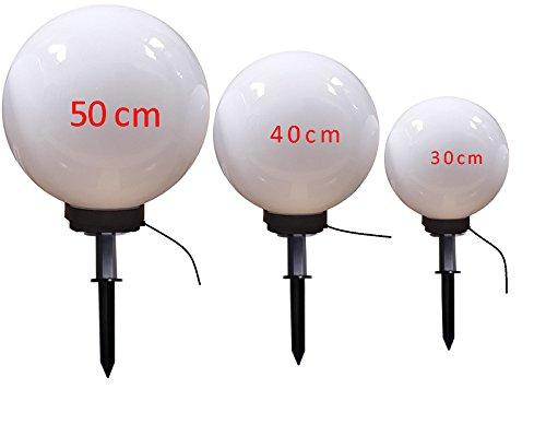 Dapo LED Kugelleuchte Gartenleuchte Außenleuchte Marlon Set-304050cm Kugelleuchte Gartenleuchte Kugellampen Außenlampe Bodenlampe mit Erdspieß LED warmweiß 5Watt Dekoleuchte