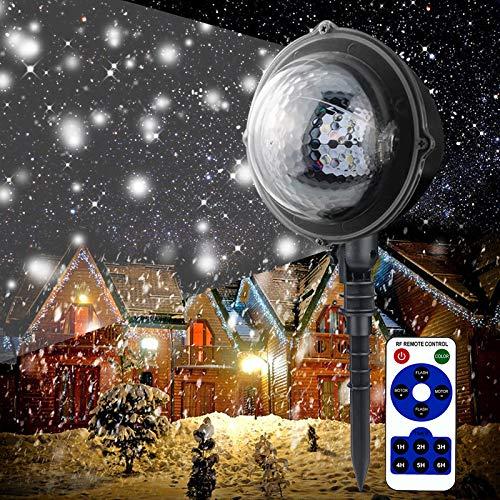 LED Projektionslampe Innen Außen Schneeflocke Lichteffekt Projektor Lichter Kunststoff Mit Fernbedienung IP65 Kinder Weihnachten Halloween Party Dekoleuchten