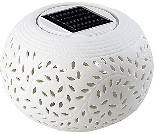 Lunartec Solartischleuchte Solar-Dekoleuchte aus Porzellan mit Farbwechslerweißer LED Windlicht Solarleuchten