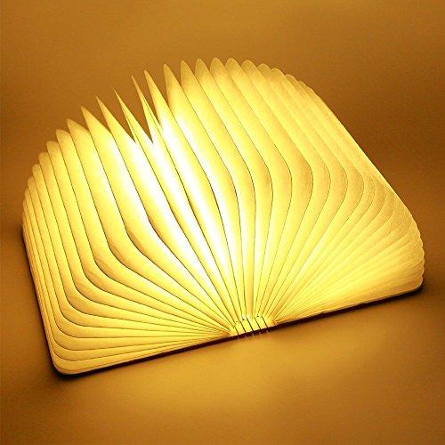Wooden Bookstyle Nachtlicht TechCode  Holz Faltbare LED Nachtlicht Book LED Licht und LED Faltbar Buch Lampe Kunst Dekoleuchte SchreibtischWand Magnetisch Lampe Warmweiß