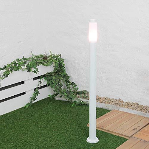 Große Wegeleuchte weiß IP44 Ø8cm E27 H110cm Weg Garten Hof Beleuchtung Außenlampe