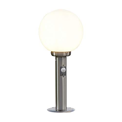 Lampenwelt AußenleuchteVedran mit Bewegungsmelder spritzwassergeschützt Modern in Weiß aus Glas 1 flammig E27 A  Wegeleuchte Pollerleuchte Wegelampe Sockelleuchte