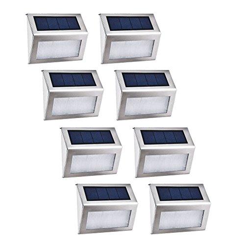 Led Solarleuchte 3 Led Kühles Weiß Treppenleuchten Aussenleuchte Wandleuchten Wegeleuchten mit lichtssensor Wasserdichte Kabellose Sicherheitslicht Solarlampe 8 Stück