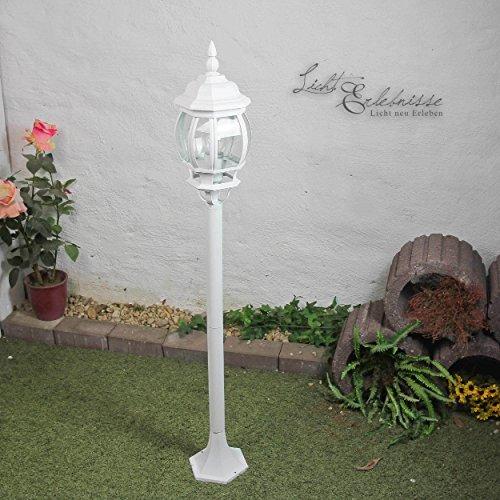 Rustikale WegleuchteBrest in weiß mit E27 bis zu 60W 230V IP43 Gartenleuchte Wegelampe antik Laterne Aussenleuchte Aussenlampe Wegeleuchte Stehleuchte Standlampe