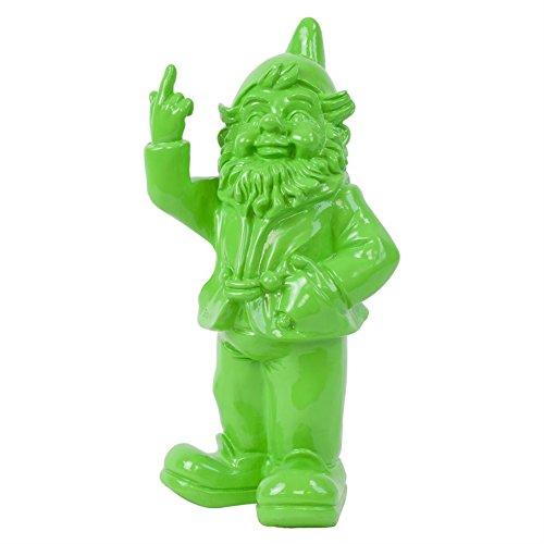 Frecher Gartenzwerg Rotznase mit Mittelfinger Figur für Haus oder Garten Gift Grün