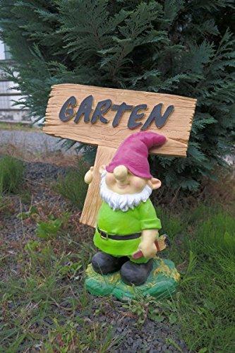 Gartenzwerg mit Schild Garten 44 cm grün Figur Garten Zwerg TOP