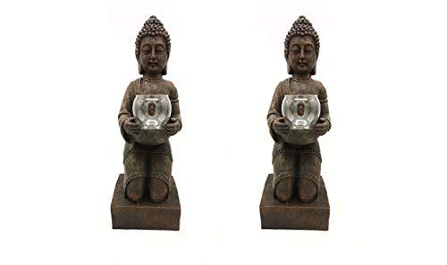 2er Set Windlicht-Figur Buddha XL - Teelichthalter Heim  Garten - Deko Statue