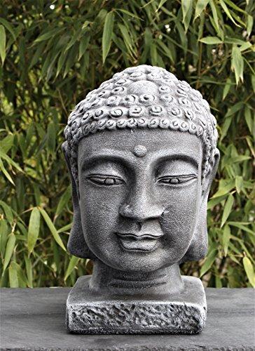 Buddha Kopf groß - Schiefergrau Garten Deko Figur Stein Statue Frostsicher