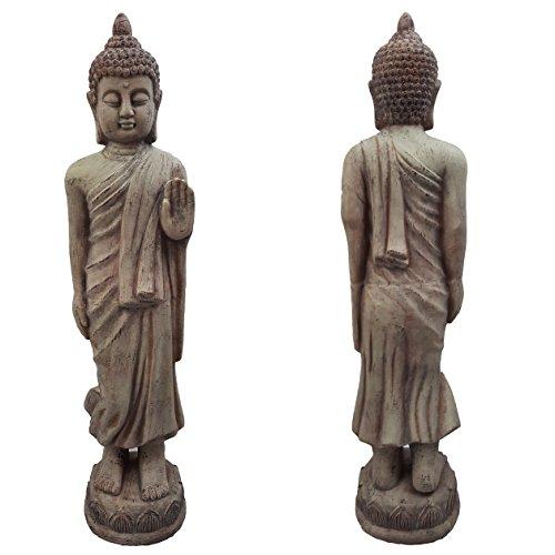 Hoch stehend Thai Buddha Keramik Garten Outdoor Indoor Statue Ornament grau