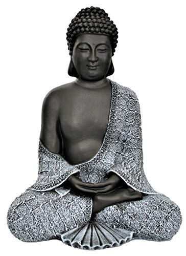 Tiefes Kunsthandwerk Buddha Figur aus Stein sitzend in Schiefer Grau Statue frostsicher und wetterbeständig für Garten und Balkon handgefertigt in Deutschland