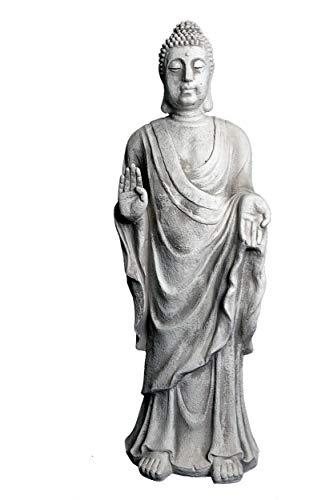 gartendekoparadiesde Wunderschöne riesige Statue Buddha Mönch Tempelwächter aus Steinguss frostfest