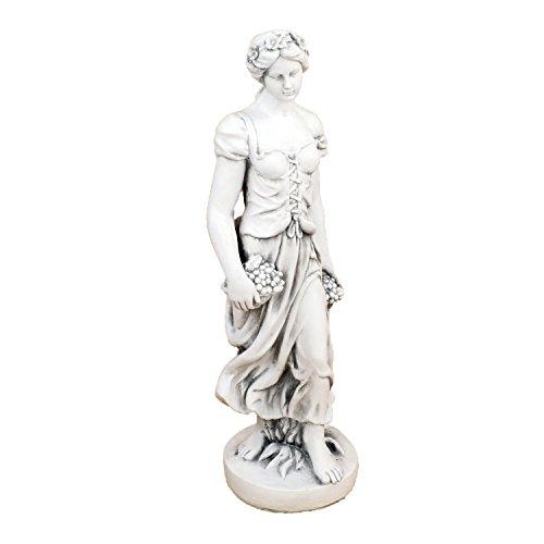 Solstice Skulpturen XST966 Sally im Sommer Skulptur Weiß Stein Effekt 84 cm Gartenstatue