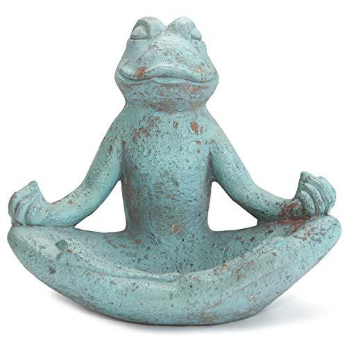 Werner Voss Gartendeko Stein - Frosch Meditierend Skulptur Tierfigur Garten Türkis Grün Antik Steinoptik frostfest