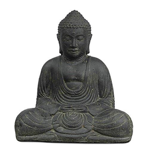 Buddha Steinfigur sitzend Skulptur Japan Stein Figur Statue Garten Asien 40cm
