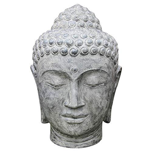 Ciffre Buddha Stein Kopf ca 40cm Steinfigur Skulptur Feng Shui Garten Deko Wetterfest Lawa Stein aus Bali