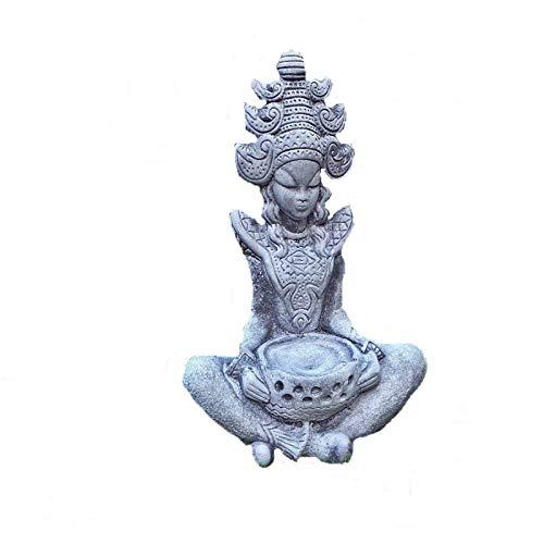 Steinfigur Buddha Feng-Shui Statue Göttin massiver Steinguss Gartenfigur Frostfest 42 cm