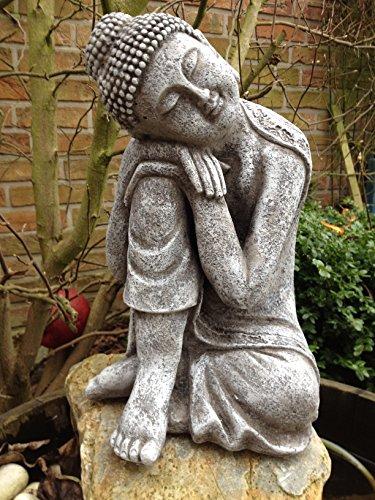 Steinfigur Buddha Figur Skulptur Garten Deko-Koi Teich Gartenfiguren Steinguss