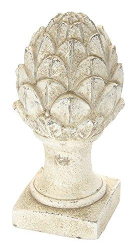 DARO DEKO Stein-Skulptur Pinienzapfen groß Creme-Weiß