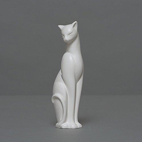 Katze Skulptur aus hochwertigem Zellan echte Handarbeit Made in Germany Büste in weiß 10cm