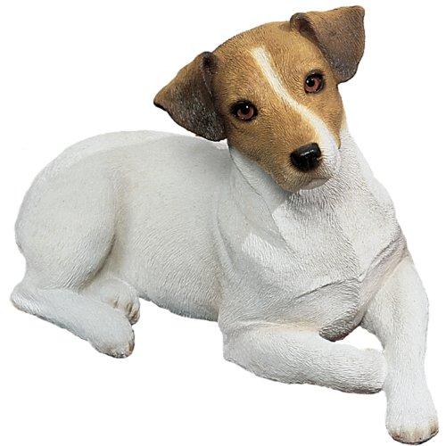 Sandicast Original Größe Braun und Weiß Jack Russell Terrier Skulptur weiß Original Size
