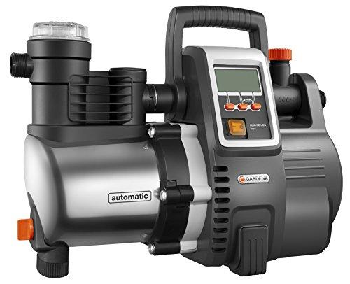 GARDENA Premium Hauswasserautomat 60006E LCD Inox Hauswasserpumpe mit 6000 lh Fördermenge 1300 W Motor mit LC-Display Pumpengehäuse aus rostfreiem hochwertigem Edelstahl 1760-20