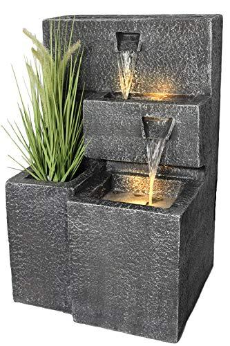 Springbrunnen Grada Bepflanzbar mit LED Beleuchtung Wasserfall Gartenbrunnen Kaskade Terrassenbrunnen