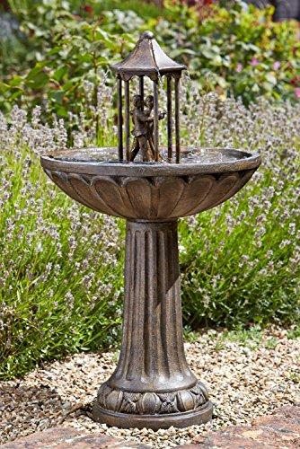 XL 83 Solar Wasser Spiel Garten Brunnen Deko Springbrunnen Zier Brunnen Garten Dekoration wahlweise mit LED Beleuchtung Tanzendes Paar