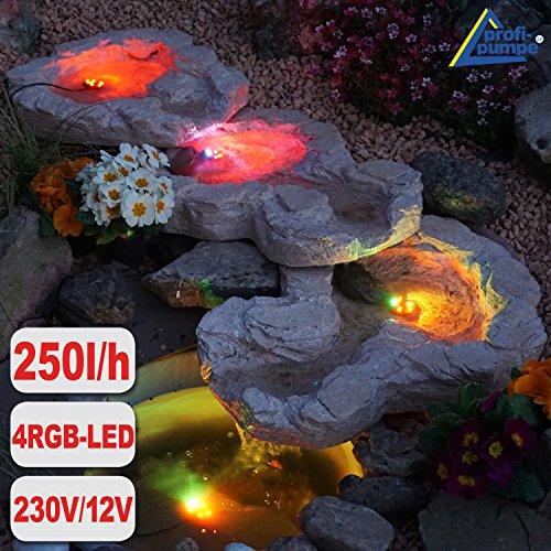 GARTENBRUNNEN BRUNNEN Bachlauf QUELLBACH II mit LED-Licht 230V ZIERBRUNNEN VOGELBAD WASSERFALL GARTENLEUCHTE TEICHPUMPE - SPRINGBRUNNEN WASSERSPIEL für Garten Gartenteich Terrasse Teich Bachlauf QUELLBACH II dunkel-grau 3-teilig mit 4 RGB LED-Licht