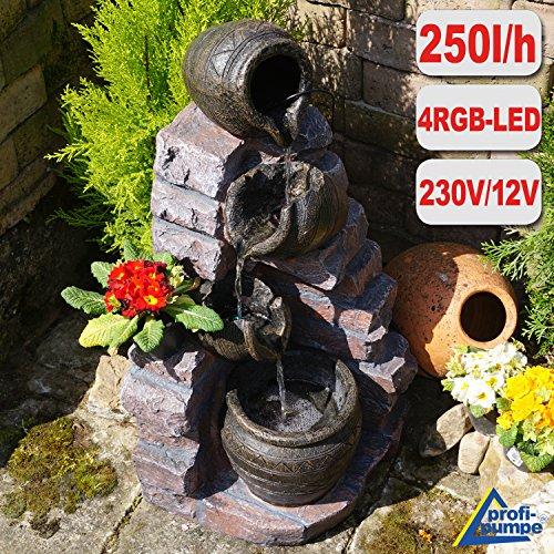 Gartenbrunnen Brunnen Zierbrunnen Zimmerbrunnen Vogelbad Wasserfall Wasserspiel für Garten Gartenteich Terrasse Teich Balkon Sehr Dekorativ Gartendeko mit Pumpe 4 RGB Led-Licht-Gartenleuchte