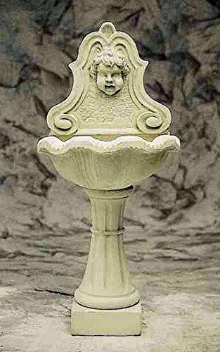 Brunnen Gartenbrunnen Zierbrunnen fountain Puttenkopf Farbe sandstein