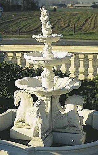 Brunnen Gartenbrunnen Zierbrunnen fountain mit Pferden Farbe sandstein