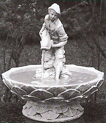 pompidu-living Brunnen Gartenbrunnen Zierbrunnen fountain Knabe mit Fisch Farbe sandstein