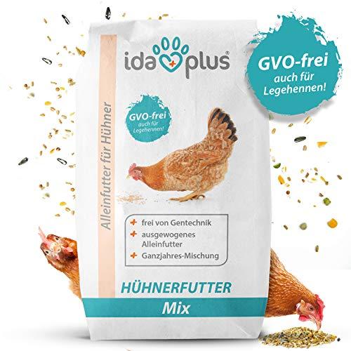 Ida Plus - Hühnerfutter Mix 25 Kg - Ausgewogenes Alleinfutter  Ganzjahres Mischung GVO-frei auch für Legehennen  Bestens für Futterautomaten geeignet  Enthält Calcium und Vitamine 25 Kg
