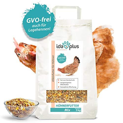 Ida Plus - Hühnerfutter Mix 5 Kg - Ausgewogenes Alleinfutter  Ganzjahres Mischung GVO-frei auch für Legehennen Futterautomaten geeignet  Enthält Calcium und Vitamine 5 Kg