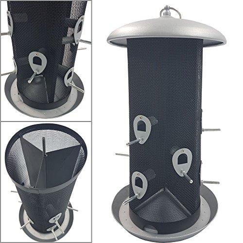 PROHEIM XXL Vogelfutter-Station 45 cm aus Metall großer Futterspender für bis zu 5 kg Futter Vogelhaus zum Hängen Vogelfutter-Spender mit 12 Futteröffnungen - perfekt für Wildvogelmischungen