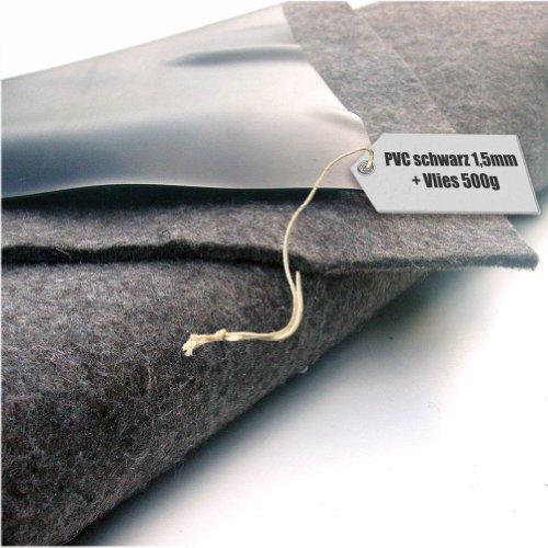 Teichfolie PVC 15mm schwarz in 10m x 8m mit Vlies 500gqm