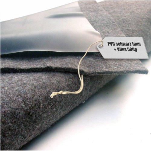Teichfolie PVC 1mm schwarz in 10m x 8m mit Vlies 500gqm