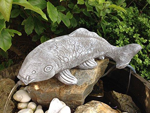 Steinfigur Wasserspeier Fisch Garten Deko-Steinguss-Koi Teich Gartenfiguren