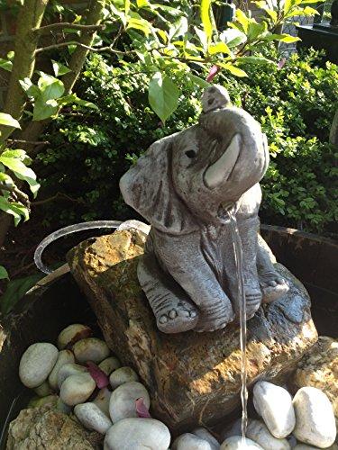 Wasserspeier Elefant Steinfigur Garten Deko Gartenfiguren Elefanten Steinguss