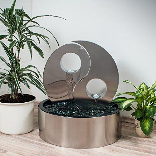 Köhko Wassserwand Yin Yang mit LED-Beleuchtung Rund ca Ø 48 cm Springbrunnen Wasserspiel mit Beckenverkleidung aus Edelstahl
