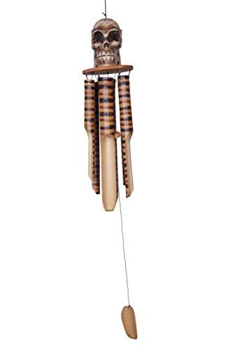Ca 80cm Langes Riesen Totenkopf Skull Schädel Windspiel Klangspiel Garten Wetterfest Handarbeit Bambus Holz