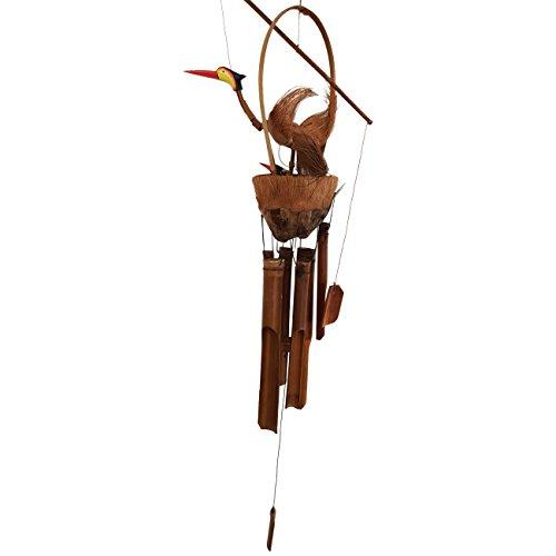 Ciffre Ca 100cm Windspiel Klangspiel Großer Vogel mit Nest und Jungen Vögeln Bambus Kokosnuss