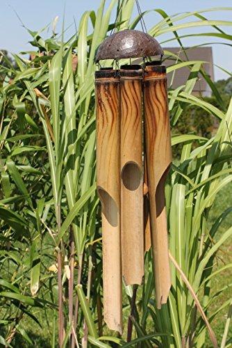 Exotisches Feng Shui Windspiel Klangspiel Bambus und Kokosnuss 6 Röhren ca 50 cm Länge