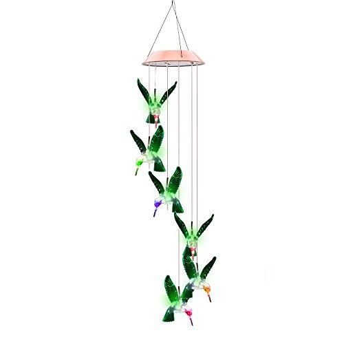 ALLOMN Farbwechsel LED Solar Mobile Windspiel solarbetriebene LED Nacht Licht Wasserdicht Sechs Kolibri Windspiel für Outdoor Garten Party Weihnachten Dekoration