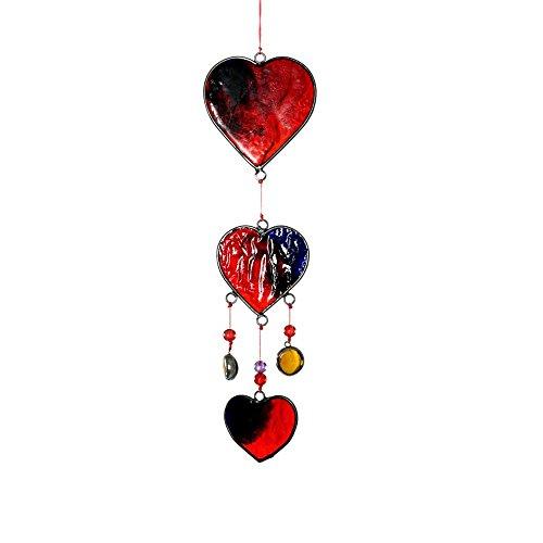 HAB GUT -HA010- WindspielMobile mit roten Glas Herzen 32 cm lang