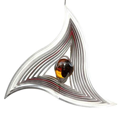Hamburg-Trade Windspiel TRIANGLE MOBILE aus Edelstahl mit 35 mm Glaskugel -Farben nach Wunsch-absolut Wetterfest-