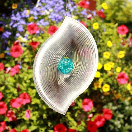 Windspiel Mobile WELLENBLATT mit 35 mm Farbglaskugel  Farben nach Wunsch  absolut Wetterfest-