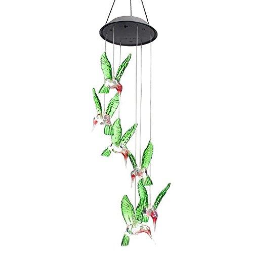 sotoboo LED Solar Windspiel Farbwechsel Kolibri Solar Mobile Windspiel Bell Outdoor LED Hängelampe Wasserdicht Spirale Spinner Windspiel Wind Bell für Terrasse Deck Hof Garten Haus Weg Haus Party Garten Dekoration Lucky Geschenk
