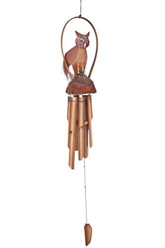 Ciffre Premium 100cm Windspiel Holz Feng Shui Klangspiel Geschnitzt Kokosnuss Eule Bambusrohr