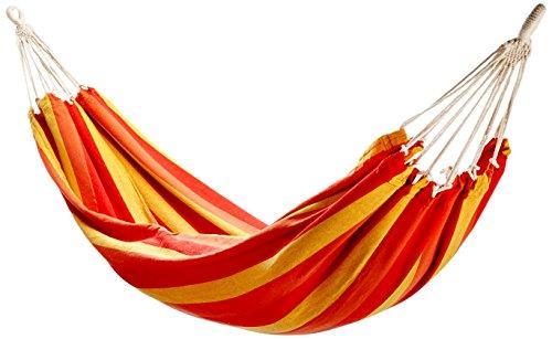 10T Balasso XL Hängematte für 1 Person Tuchhängematte aus 100 Baumwolle 220x110 cm Hängeliege Gartenliege inkl Befestigungsset mit Seil Knebelverschluß Haken Abseilachter